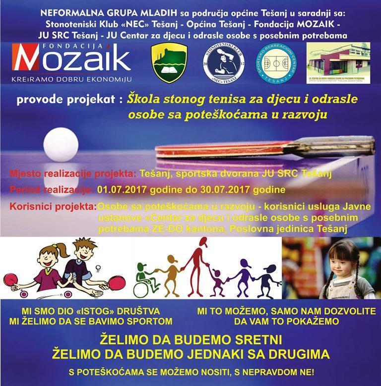 Škola stonog tenisa za osobe sa poteškoćama u razvoju.