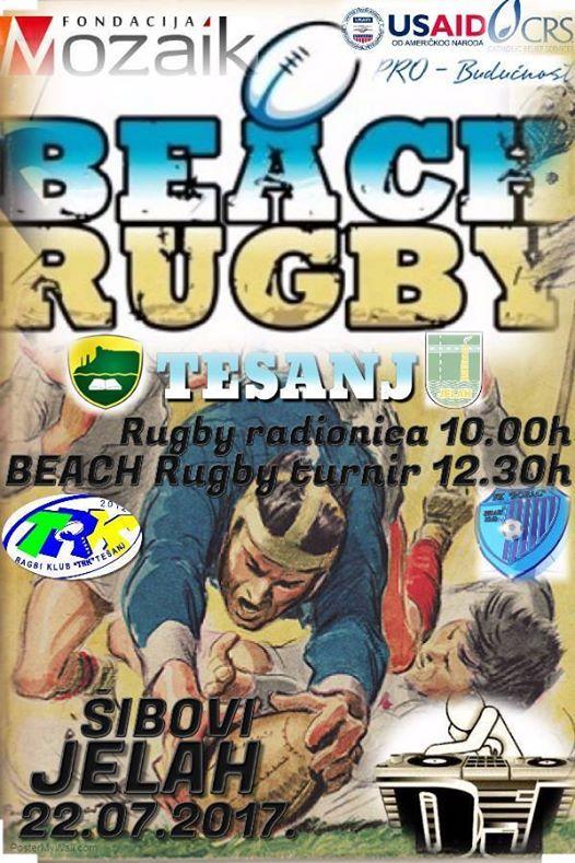 "Turnir u ragbiju na pijesku ""Beach Rugby"" u organizaciji Ragbi kluba ""TRK"" Tešanj."