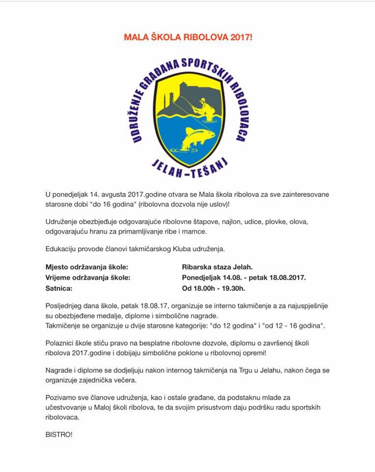 """Mala škola ribolova u organizaciji UGSR """"Jelah-Tešanj""""."""
