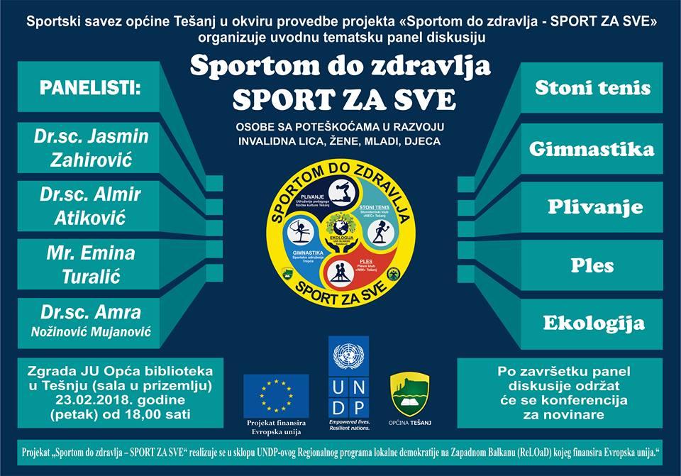"Tematska panel diskusija o projektu ""Sportom do zdravlja – SPORT ZA SVE""."