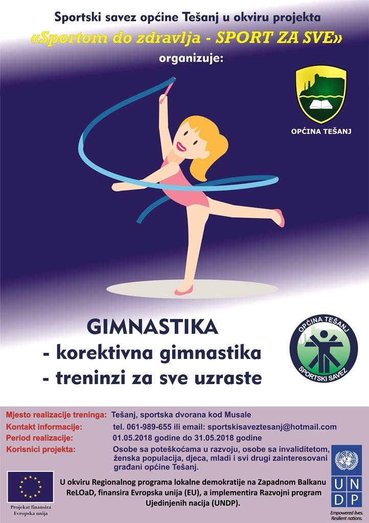 Najava za treninge gimnastike.